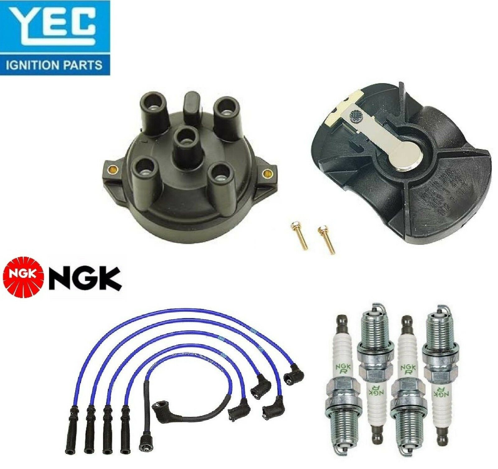 Yec & NGK Ignition Kit Distri.cap Rotor Plugs Wire for MAZDA Protege ...