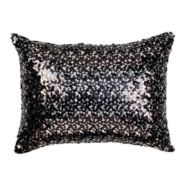 Tivoli Black Sequin Filled Brunch Cushion 30cm x 40cm - Ultima Collection
