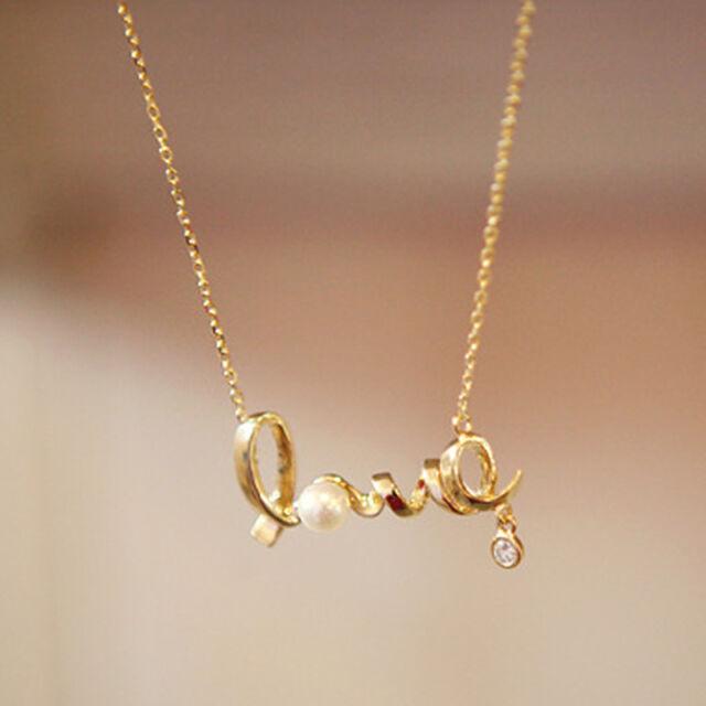 Hot fashion girls gold love letter pendant chain necklace al015 ebay new hot fashion girls beautiful gold love letter pendant chain necklace al015 aloadofball Choice Image
