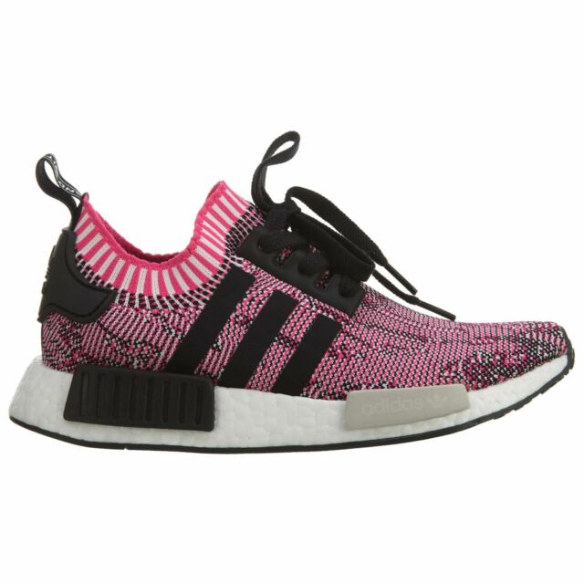 Adidas NMD R1 Primeknit Womens BB2363 Shock Pink Black Running Shoes Size  8.5