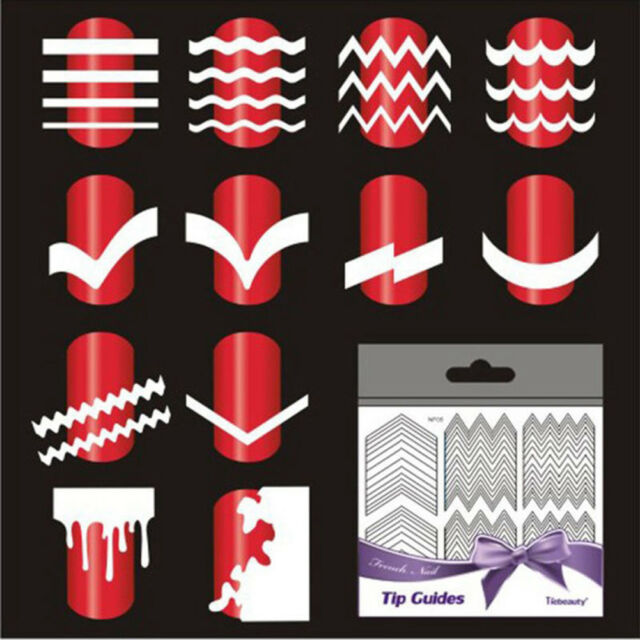 French Manicure Nail Art Tips Form Guide Sticker 5 Sheet Polish DIY ...