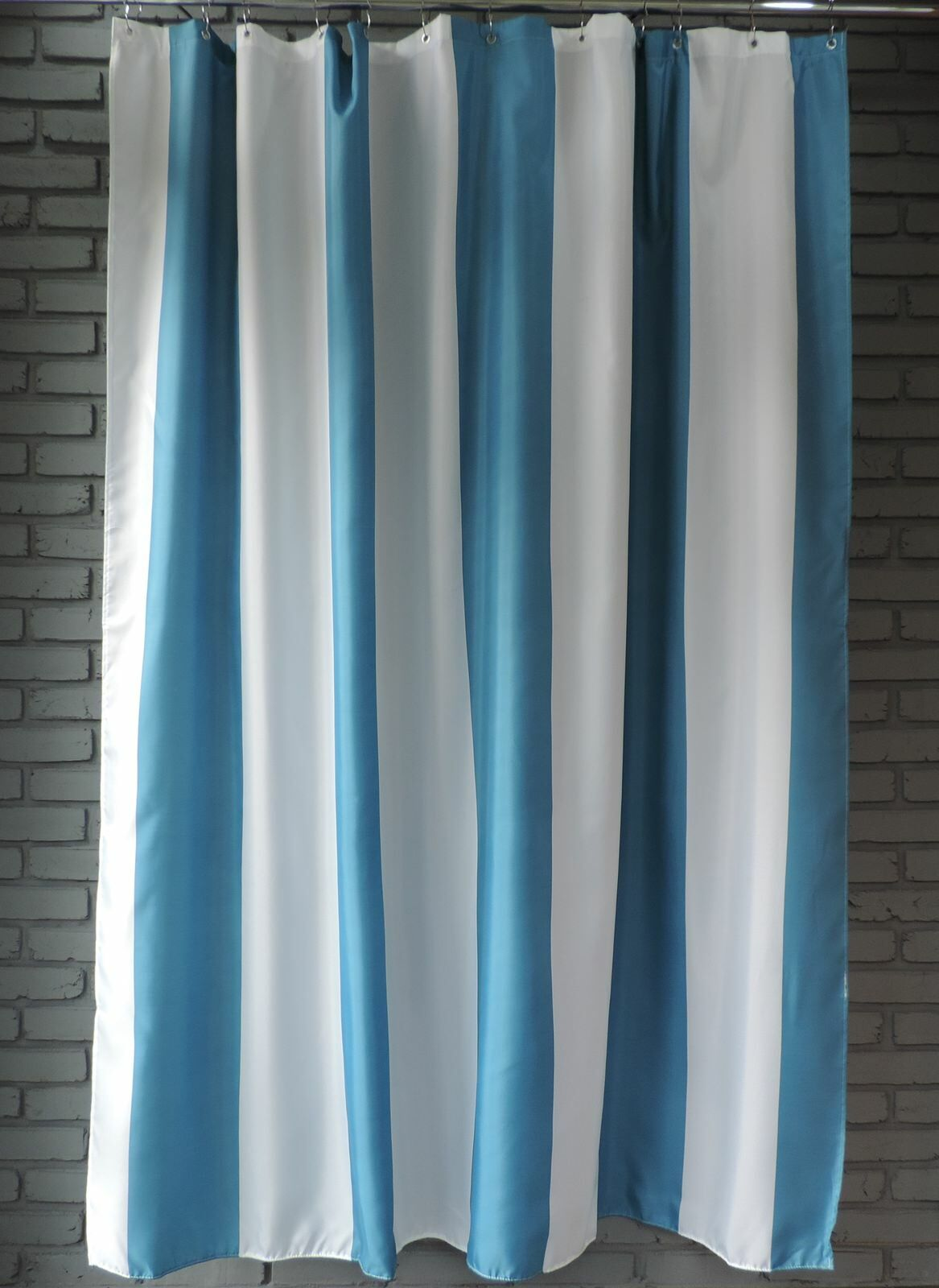 Extra Long Shower Curtain 72 X 78 Inch GAMMA Aqua Blue and White ...