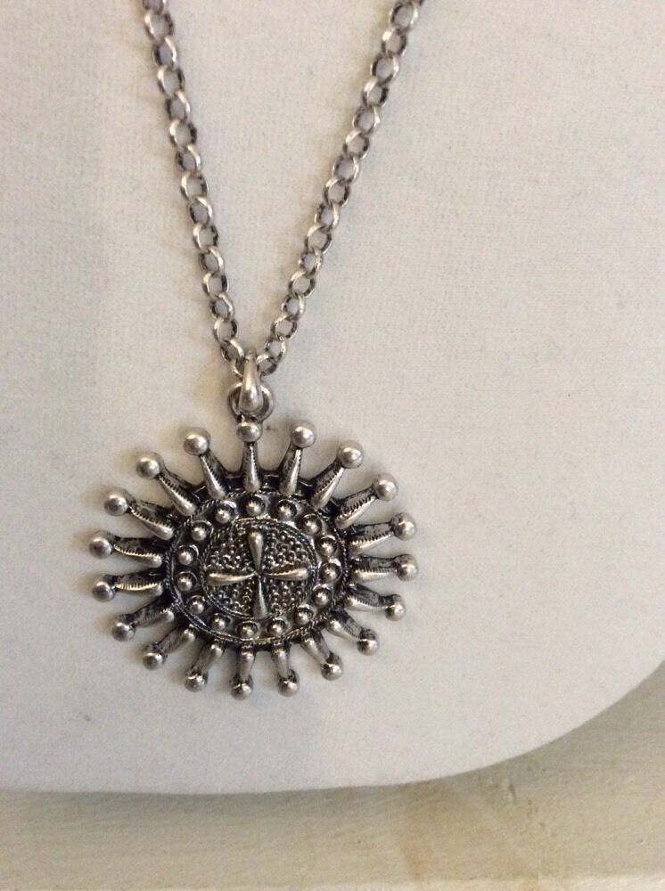 Lucky brand silver tone tribal sunburst pendant necklace ebay picture 1 of 4 aloadofball Images