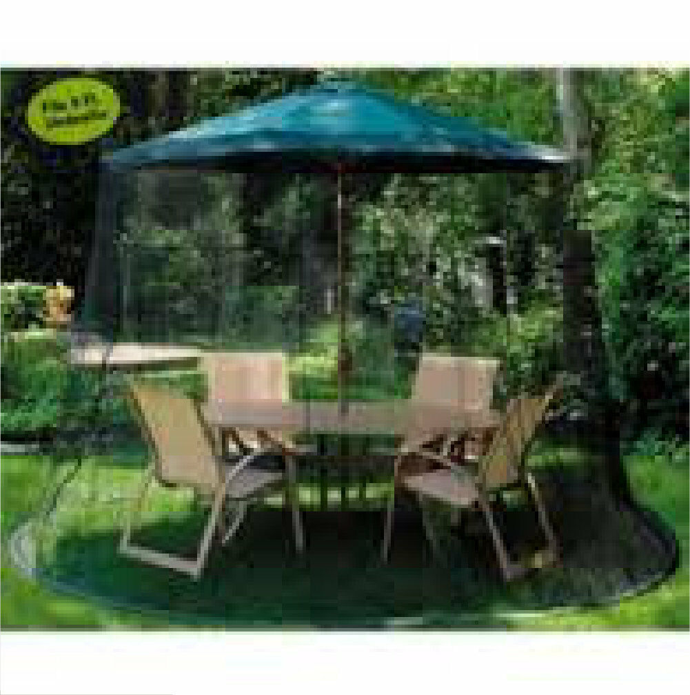 9 FT Outdoor Patio Table Umbrella Bug Screen Mosquito Net Zippered ...