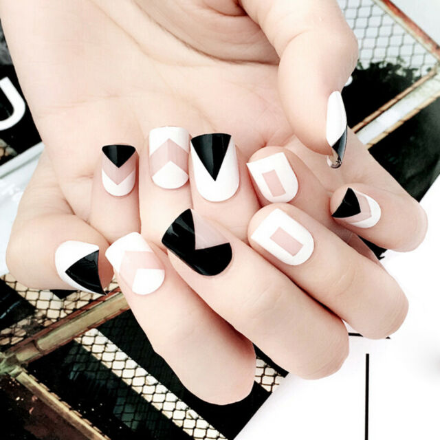 24pcs Short Fake Nails Art Tips Acrylic Nail False French Artificial ...