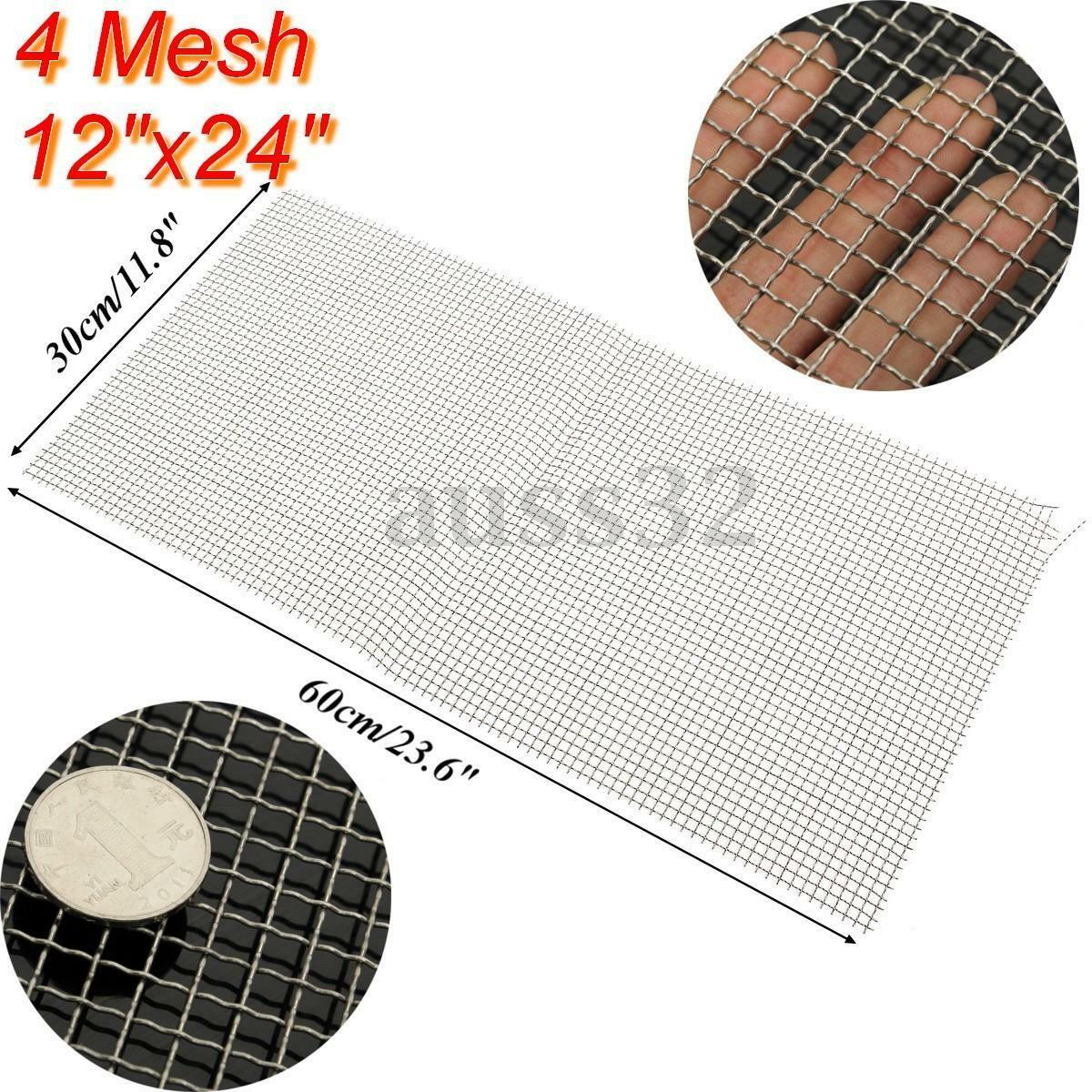 30x60cm Sliver 4 Mesh 304 Stainless Steel Wire Cloth Screen Filter ...