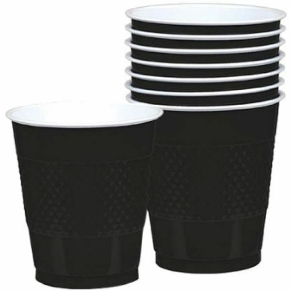 20 Black Plastic Cup 355ml Solid Colour Birthday Party Wedding Tableware