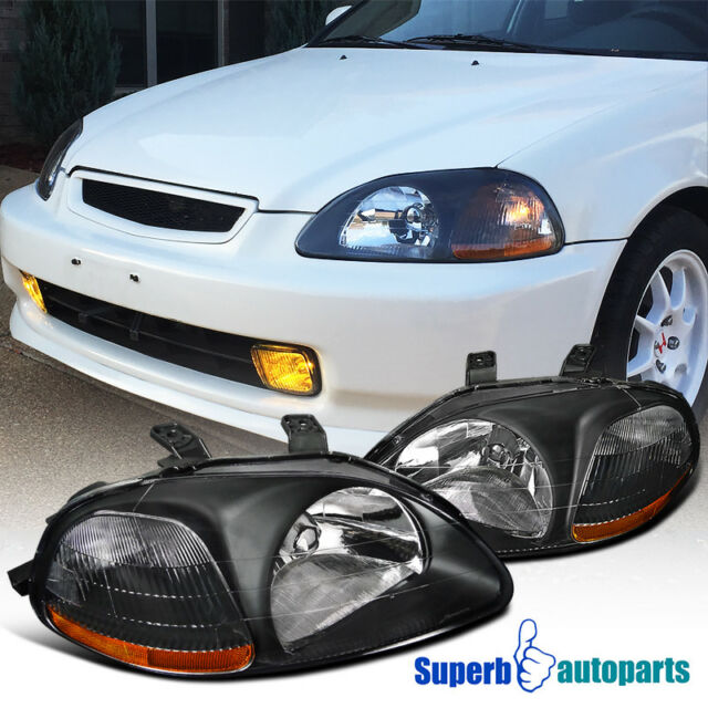 For 1996 1998 Honda Civic JDM Crystal Head Lights Lamps Black