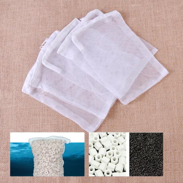 5pcs Nylon Aquarium Fish Tank Pond Filter Media Zip Mesh Net Bag Zipper 16*20cm