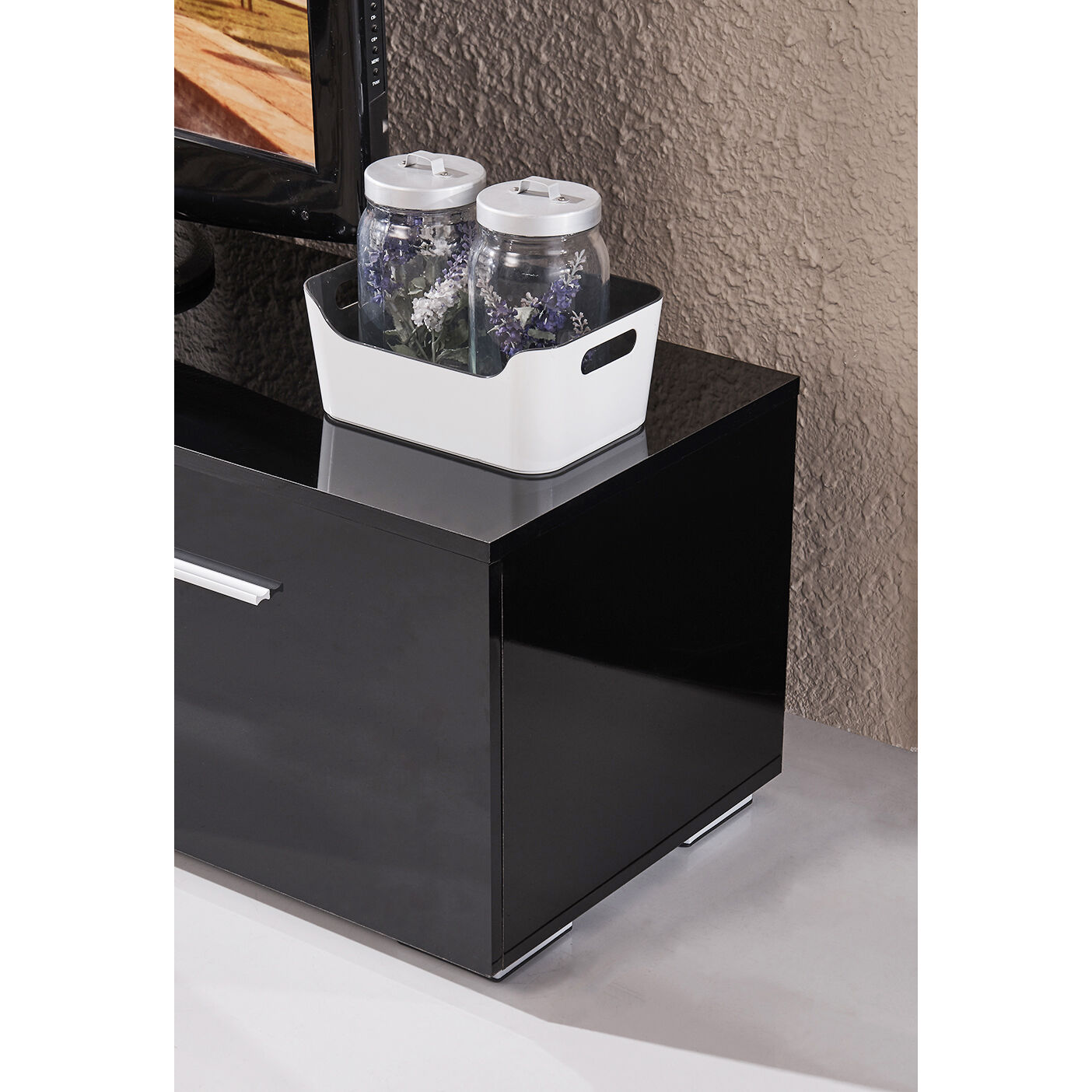High Gloss TV Stand Unit Cabinet Console Furniturew led Shelves 2