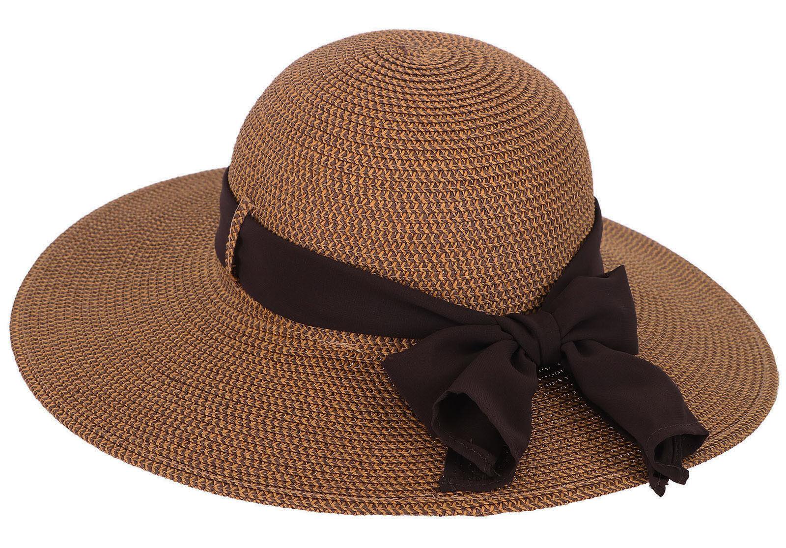 Summer Straw Hats Chiffon Ribbon Ladies Gardening Outdoor Beach Sun ...