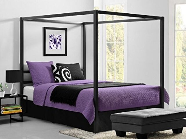 dhp modern metal framed industrial canopy bed frame queen gray - Modern Bed Frames Queen