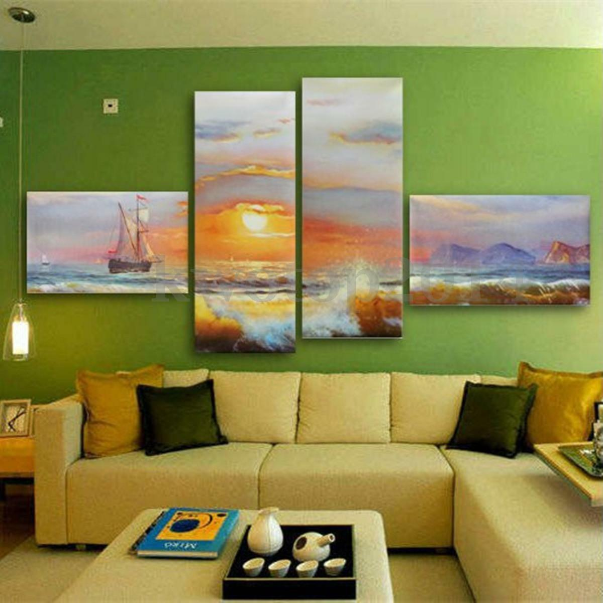 Sunrise Sea Ship Canvas Prints Home Decor Wall Art Painting Picture ...