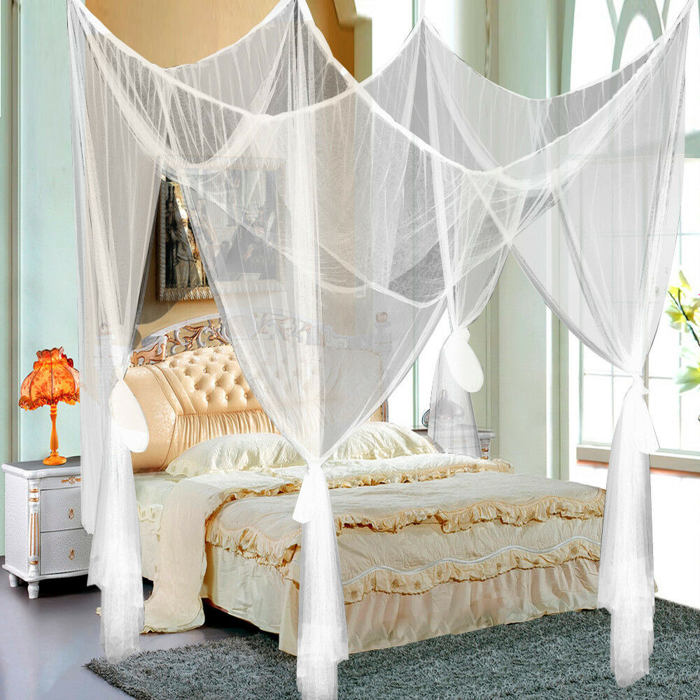 Picture 13 of 14 ... & 4 Corner Post Bed Canopy Mosquito Net Full Queen King Size Netting ...