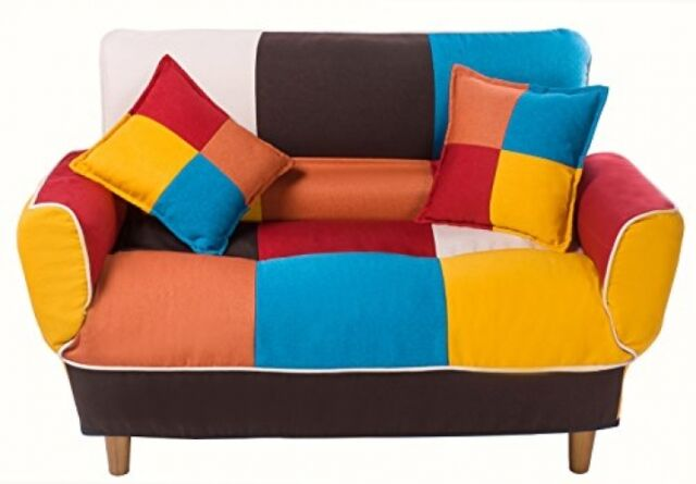 Merax Adjustable Sofa and Loveseat in Colorful Line Fabric Home