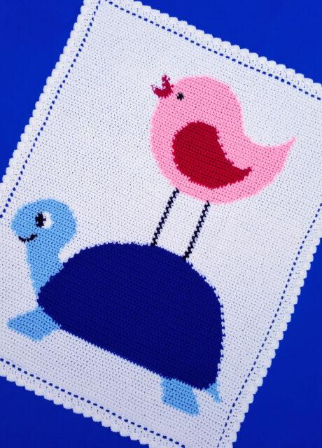 Crochet Patterns Bird On A Turtle Neutral Gender Baby Afghan