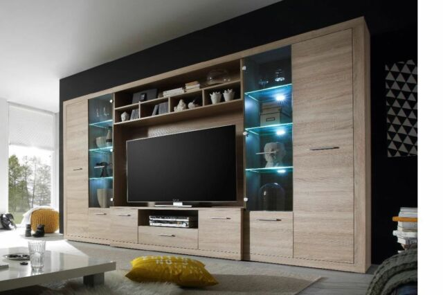 TV HiFi Media Wohnwand Eiche Sonoma Mit LED Beleuchtung Woody 61 00189