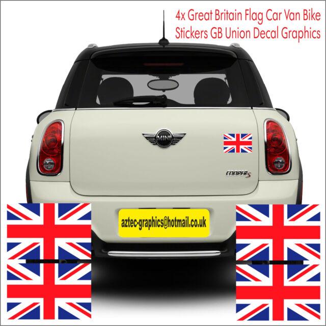 4x great britain flag car van bike stickers gb union jack decal graphics