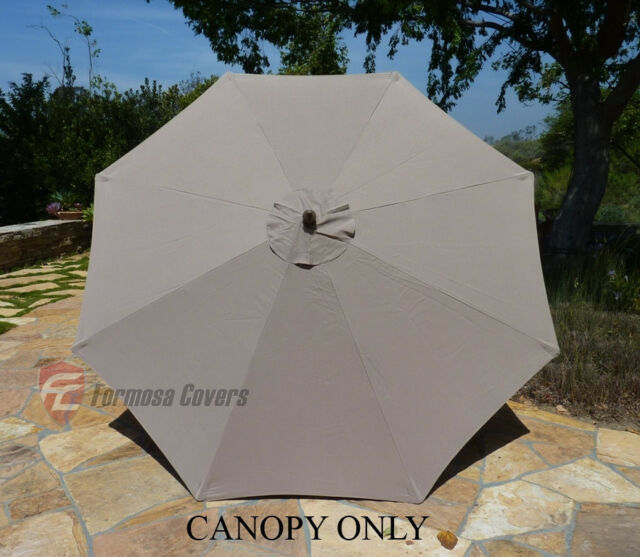 9ft Patio Outdoor Yard Umbrella Replacement Canopy Cover Top 8 Ribs Taupe & Formosa Covers 9ft Umbrella Replacement Canopy 8 Ribs in Taupe Only ...