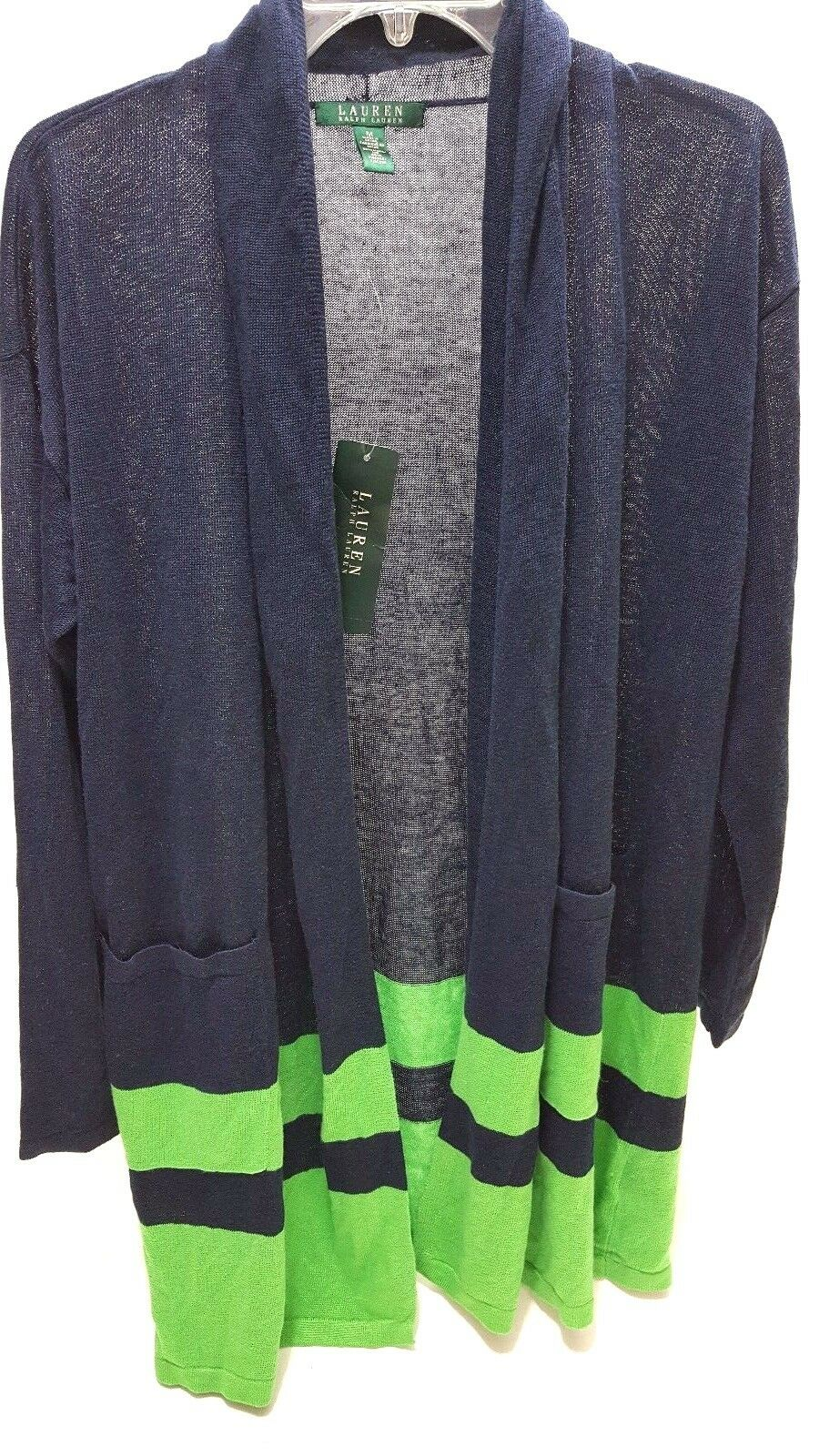 Ralph Lauren Women's Linen Blend Cardigan Sweater M Navy/green | eBay