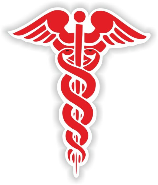 1x Red Caduceus Sticker Medical Pharmacy Symbol Decal Snakes Sword