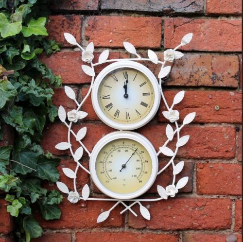 Vintage White Metal Garden Wall Clock U0026 Thermometer With Flowers Indoor  Outdoor