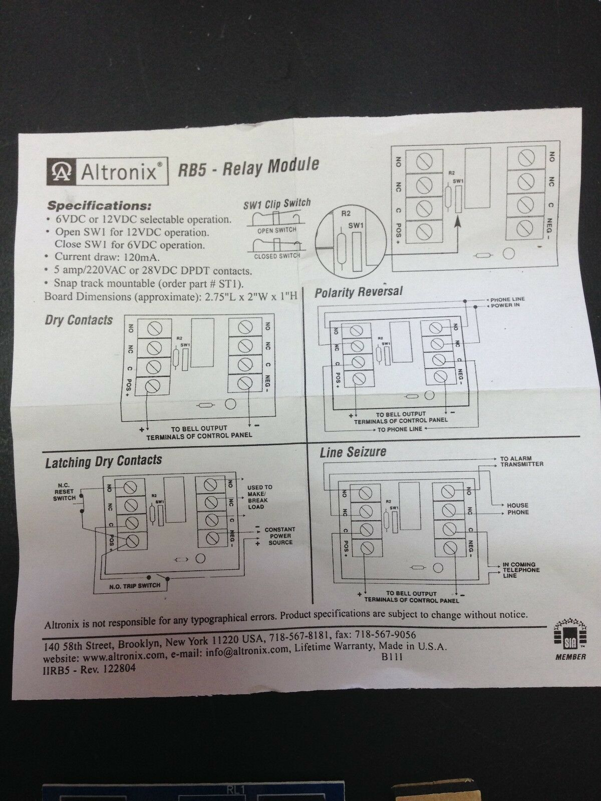 Altronix Rb5 Wiring Diagram 27 Images Timer Relay S L1600 Module 6 Or 12 Vdc Operation Dpdt Ebay