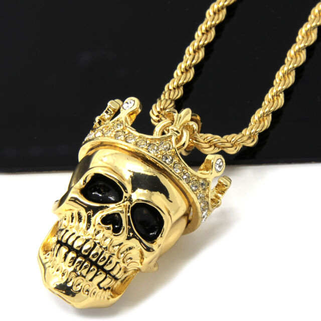 Mens gold iced cz king head skull pendant 24 rope chain hip hop mens gold iced cz king head skull pendant 24 rope chain hip hop necklace d505 mozeypictures Images