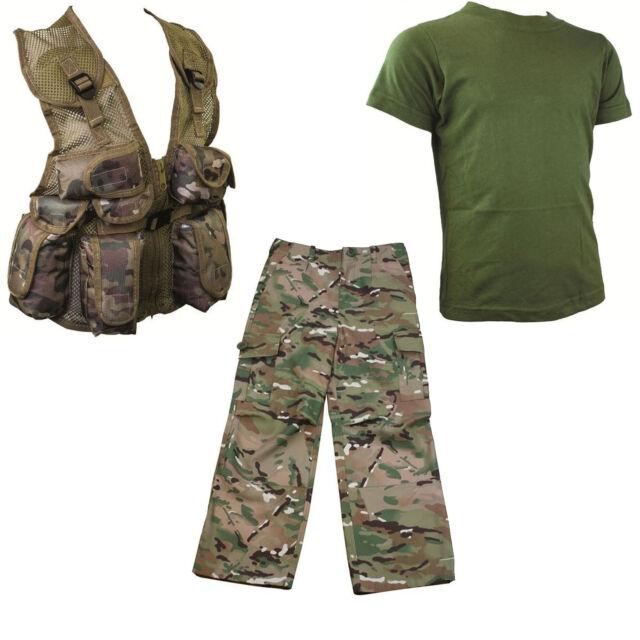 Kids Pack 6 Hmtc Mtp Multicam Pants Action Army Plce Vest Olive T