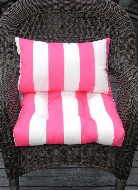 Wicker Chair Cushion Lumbar Pillow Set Pink White Stripe In-outdoor ...