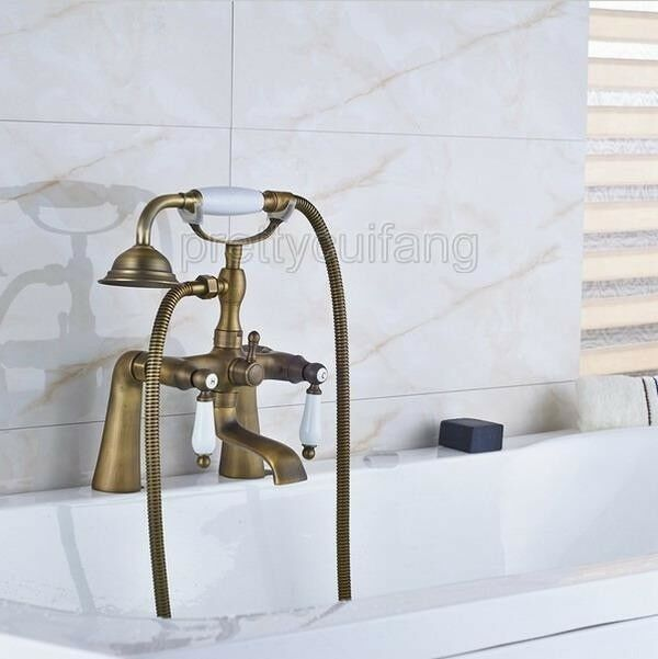 Antique Bronze Wall Mounted Clawfoot Bath Tub Faucet W/ Handheld ...