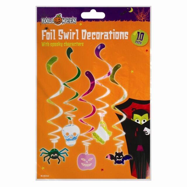 10 PACK FOIL SWIRLS DECORATIONS HALLOWEEN SPOOKY SPIDER SKULL GHOST PUMPKIN BATS