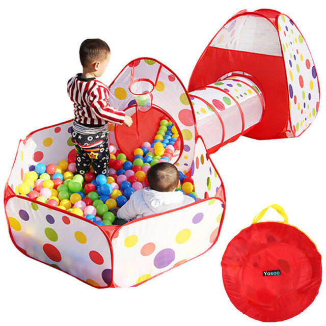 Portable Kids Indoor Outdoor Play Tent Crawl Tunnel Set 3 in 1 Ball Pit Tent US  sc 1 st  eBay & Portable Kids Indoor Outdoor Play Tent Crawl Tunnel Set 3 in 1 ...