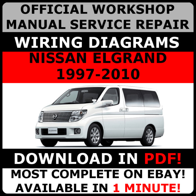 official workshop manual service repair nissan elgrand 1997 2010 rh ebay co uk Nissan Repair Diagrams Repair Manual 2009 Nissan Cube