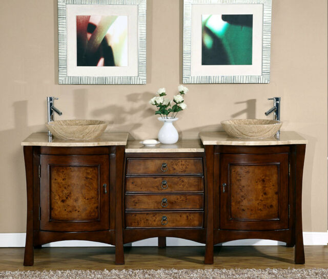 Inch Modern Travertine Top Double Bathroom Vessel Sink Vanity - 72 inch modern bathroom vanity