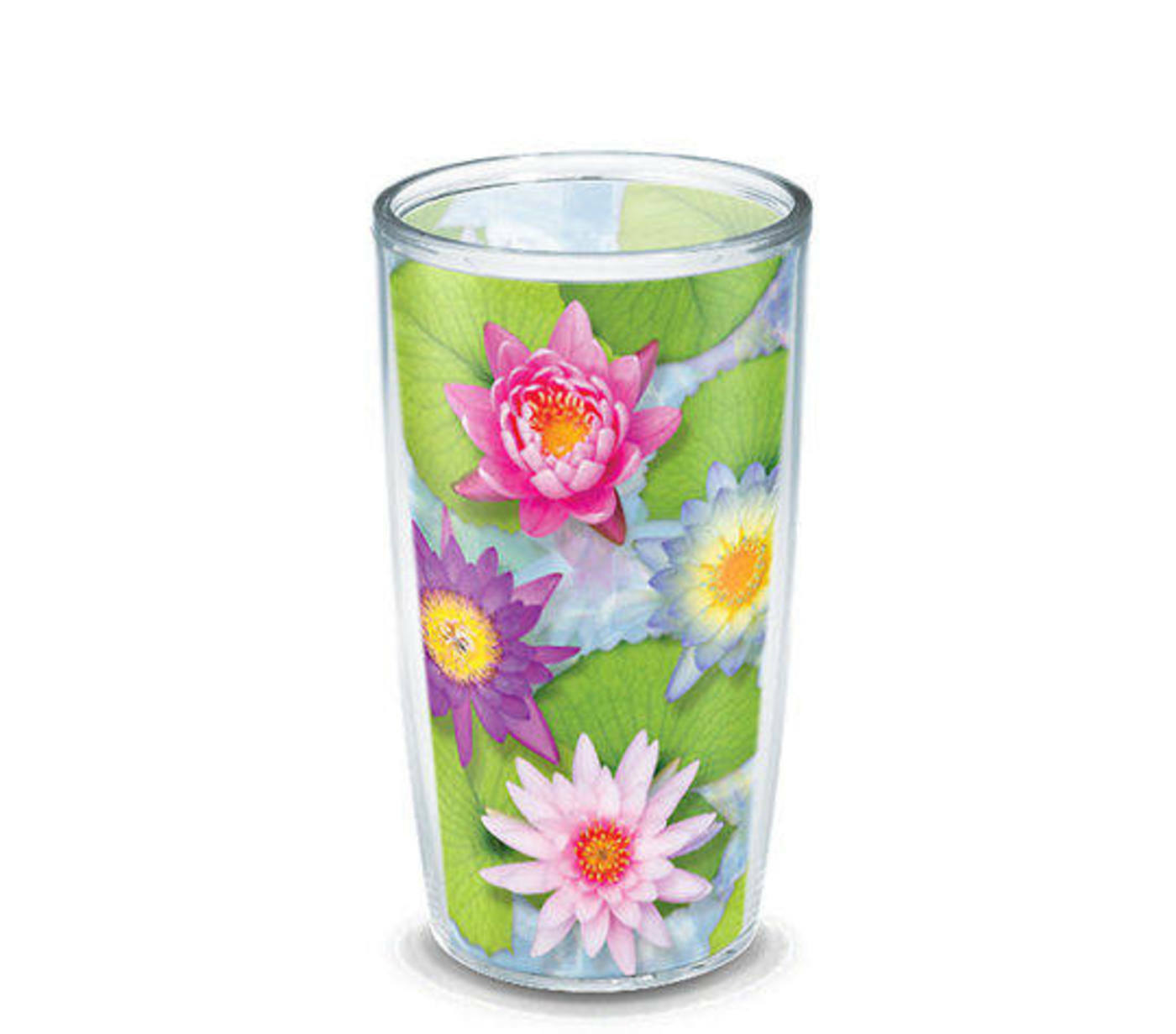 Tervis Tumbler Glass 16 Oz Floating Flowers Water Lily Pad Lotus