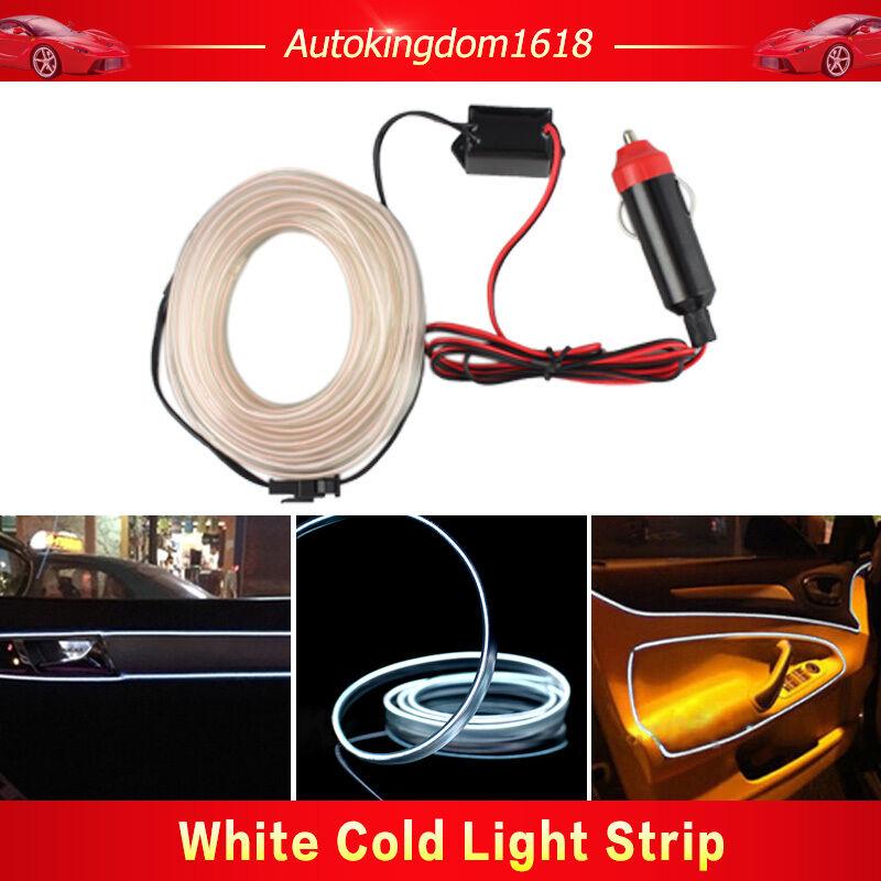 1m White 12v LED El Wire Cold Light Neon Lamp Car Atmosphere Light ...