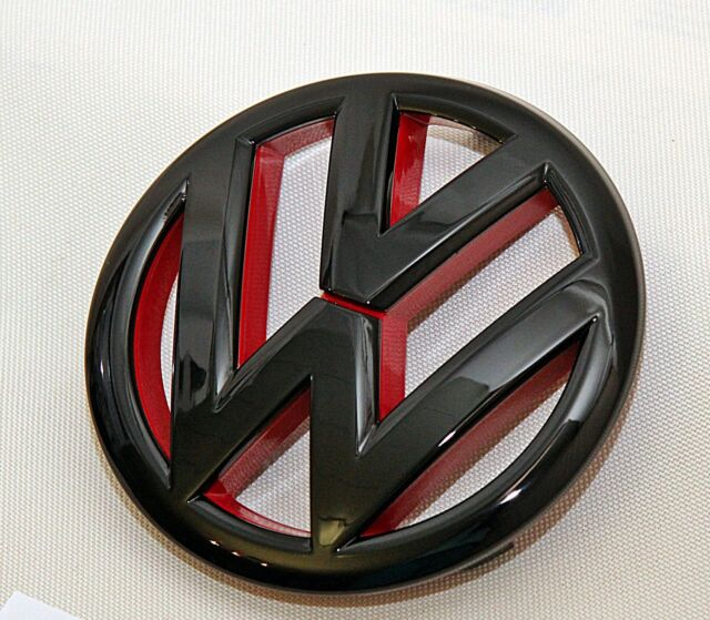 vw emblem vw logo schwarz glanz vw 120 mm tuning grill. Black Bedroom Furniture Sets. Home Design Ideas