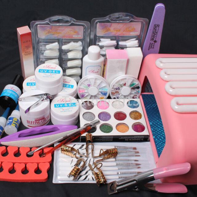 Nail Art Kit UV Builder GEL 36w Timer Dryer Lamp Decorations Full ...