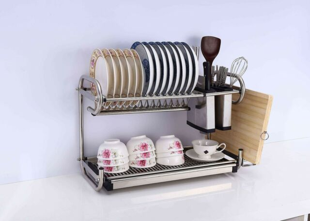 2 Tier Stainless Steel Dish Plate Cup Rack Kitchen Organizer Drainer Rust Free