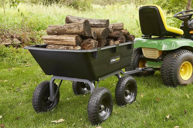 Garden Tractor Stand : Dump cart for lawn tractor garden with big wheels gorilla