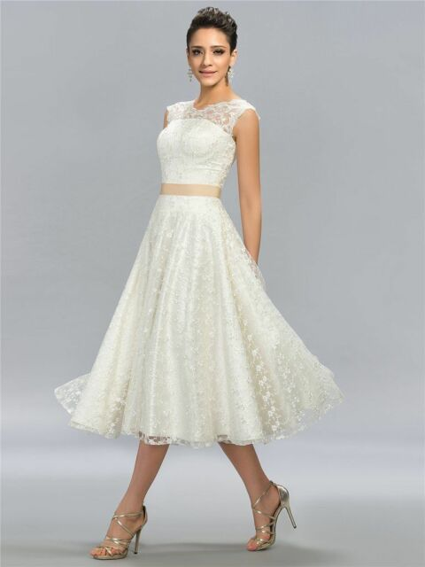 Tea Length Lace White/ivory Short Wedding Dress Bridal Gown Custom ...