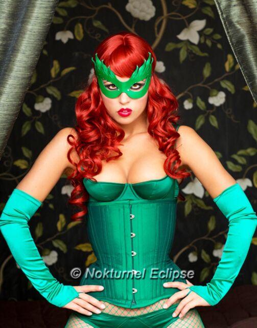 Green Poison Ivy Leather Mask Batman Gotham City Halloween Cosplay ...