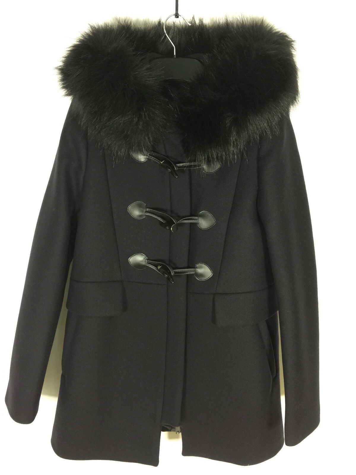 Zara Navy Blue Duffle Coat With Faux Fur Collar Size Small Ref ...