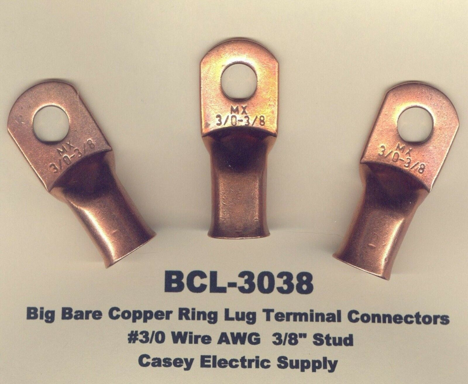 5 Big Bare Battery Copper Ring Lug Terminal Connector 3/0 Wire 3/8 ...