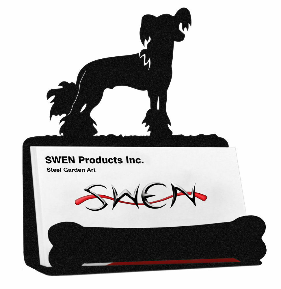 Swen Products Chinese Crested Dog Black Metal Business Card Holder ...