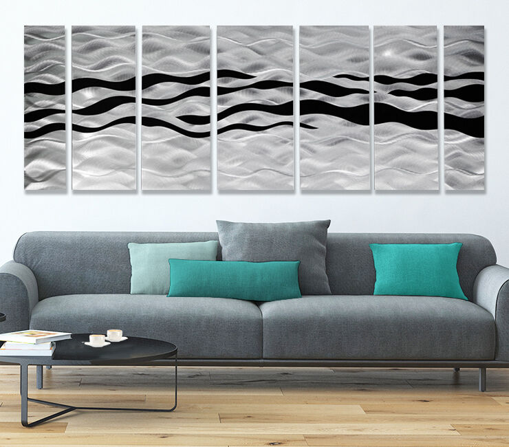 HUGE Contemporary Abstract Black/silver Metal Wall Art Decor - Wild ...