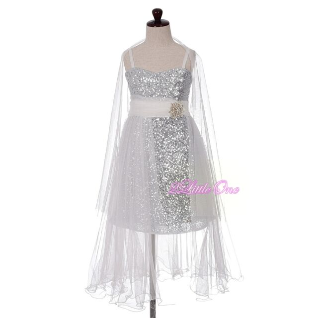 Sequined Tulle Train Flower Girl Dress Birthday Pageant off White ...