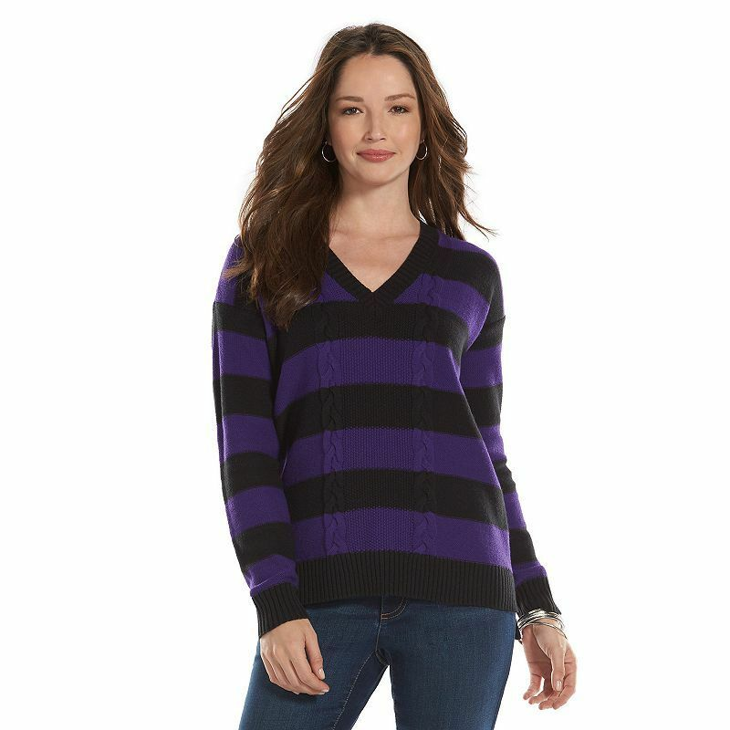 Womens Chaps Striped V Neck Sweater Purple & Black Sz XL | eBay