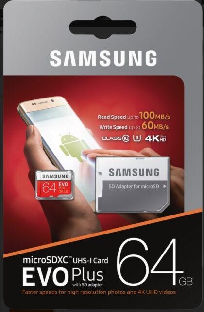 Samsung EVO Plus 64GB Micro SDXC Card mit 100 MB/s +SD-Adapter UHS-I U3,Mod.2017